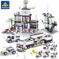 Cidade polícia swat helicóptero caminhão carro blocos de construção conjunto legoings crianças tijolos playmobil brinquedos educativos lepinblocks