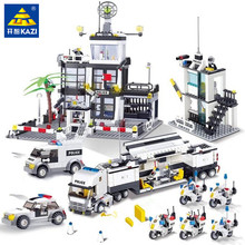 City Police SWAT Helicopter Car Building Blocks Compatible LegoINGLs Brinquedos Bricks Playmobil Educational Toys for Children 8in1 swat city police truck building blocks sets ship helicopter vehicle creator bricks playmobil compatible with toys