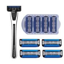 TFLYSHAVE Man Manual Shaving Razor Blade 5 Layer Razor Cartridge with Trimmer Blade Sweden Top Replaceable Blade