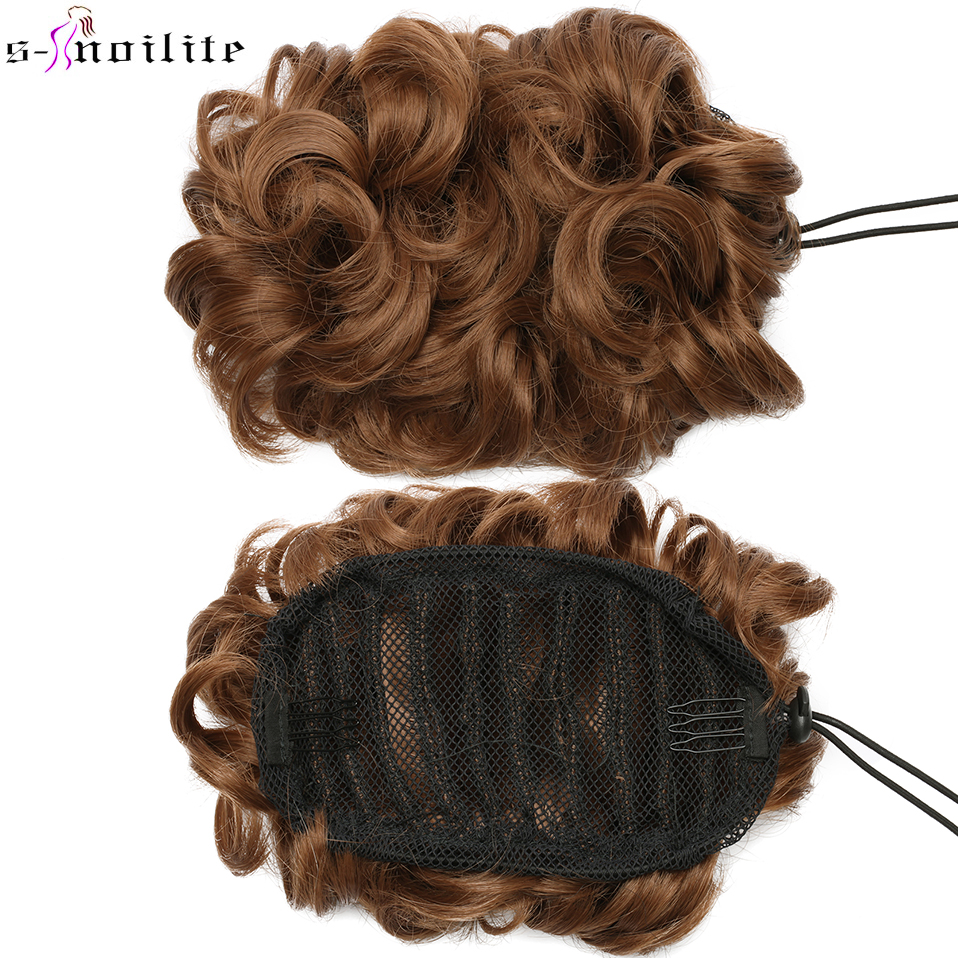SNOILITE Short Curly Chignon Hair Bun Elastic Drawstring Updo Hair Buns Synthetic Clip In Hairpiece Cheveux Hair Extension