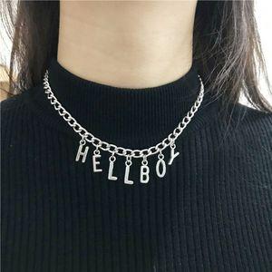 Ожерелье в стиле панк с надписью «Хеллбой», вечернее колье-чокер для женщин, Модная бижутерия в стиле хип-хоп, унисекс