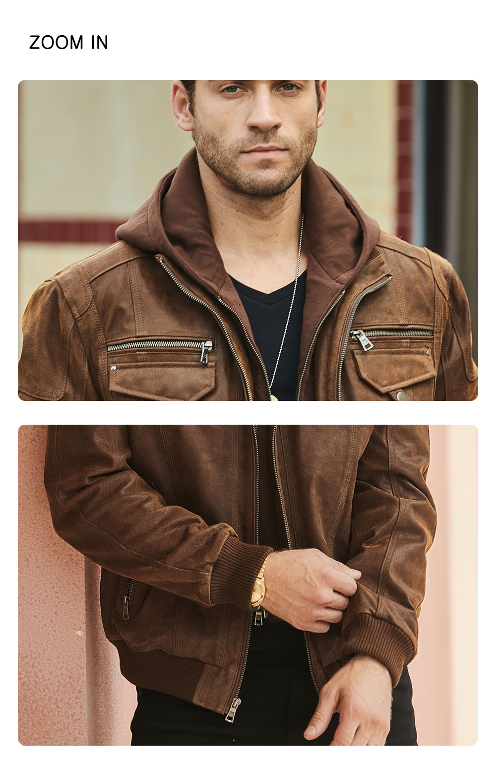 H73b0782ea5894ac7ac58c26de6323db4k FLAVOR New Men's Real Leather Jacket with Removable Hood Brown Jacket Genuine Leather Warm Coat For Men