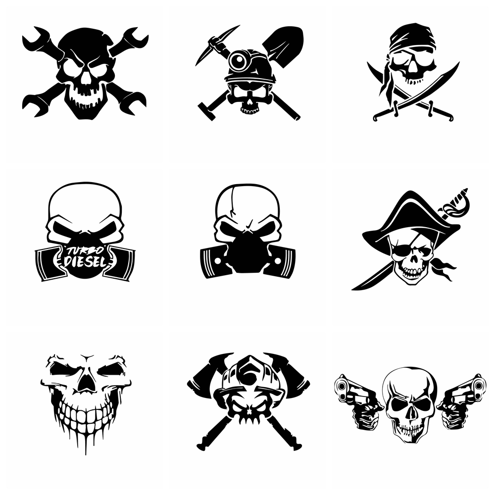 Car Stickers Skull Sticker Art pattern Vinyl For fuel tank cap Window Car-Styling car Accessories decoration