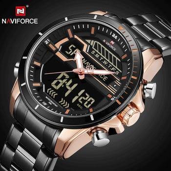 NAVIFORCE NI9133 Military Watch Stainless Quartz Clock Men Waterproof-Black Brown