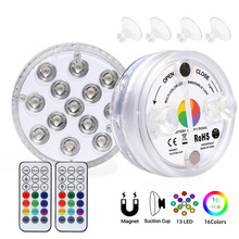 LEADLY Submersible Led Lights Pond Fountain Lights Pool Lighting With Remote Magnet Fish Bowl Underwater LED Lights For Aquarium cheap CN(Origin) Aluminium Baking WY71 Submersible Led Lights IP66 Wall Lamps 2 years Modern LED Bulbs Emergency Wedge Tempered Glass