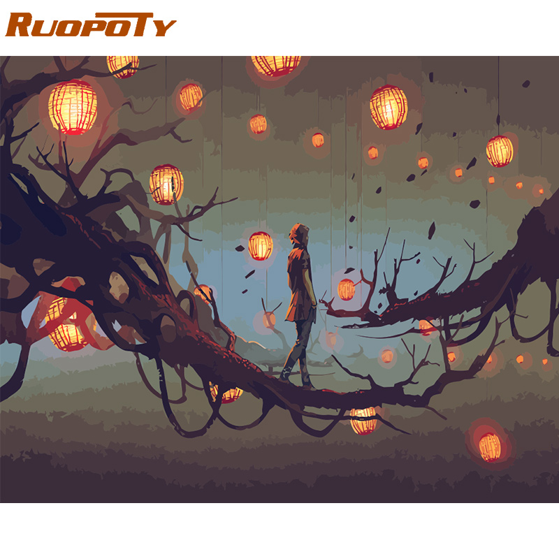 RUOPOTY Frame DIY Painting By Numbers Light Trees Picture By Numbers Acrylic Paint On Canvas Handpainted Home Wall Decors Gift