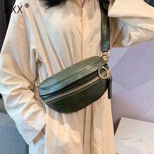 [BXX] Retro deri kadınlar için Crossbody çanta 2020 bayan askılı çanta katı renk çanta ve çantalar zincir göğüs çanta HI751