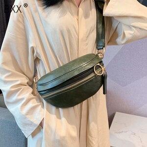 Image 1 - [BXX] Retro deri kadınlar için Crossbody çanta 2020 bayan askılı çanta katı renk çanta ve çantalar zincir göğüs çanta HI751