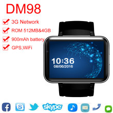 "Smartch DM98 inteligente 3G reloj teléfono 2,2 ""Android 4,4 MTK6572 Dual Core 1,2 GHz 4GB ROM Cámara WCDMA WiFi GPS Bluetooth reloj inteligente(Hong Kong,China)"