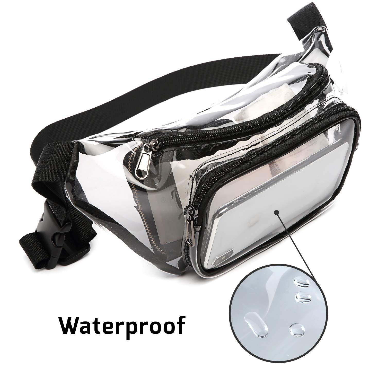 PVC Women Waist Fanny Pack Belt Bag Hip Bum Bag Clear Transparent Chest Pouch