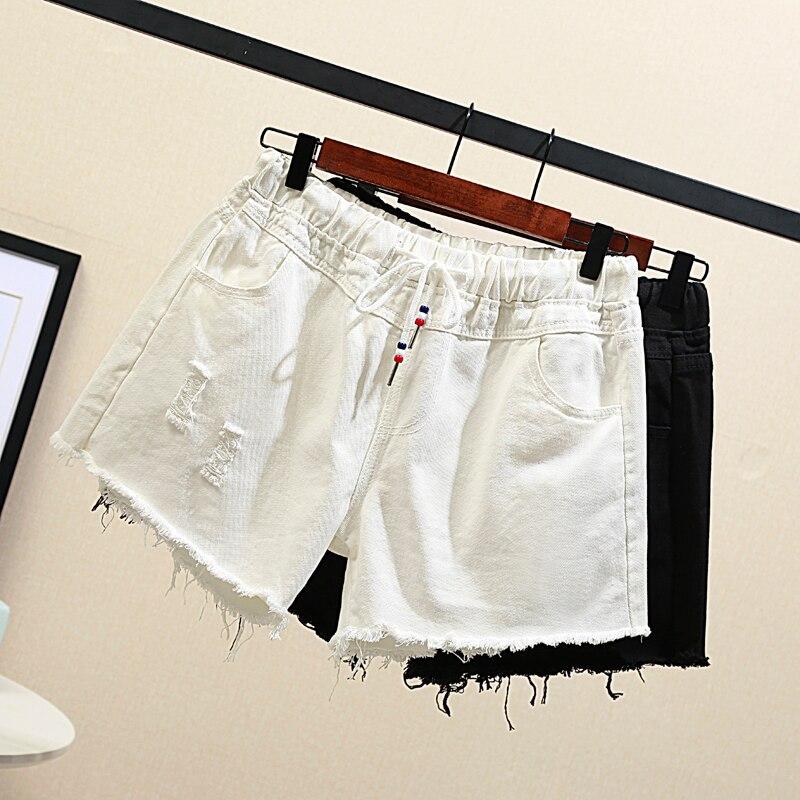 Denim Shorts Women's Large Plus Size 5XL Black Short Jeans 2020 New Wide Leg Vintage Elastic Waist Shorts Summer Big Clothes