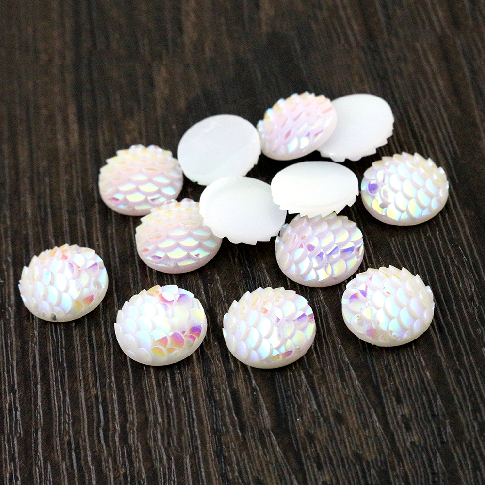 New Fashion 40pcs 12mm Solid White AB Colors Fish Scale Style Flat Back Resin Cabochons For Bracelet Earrings Accessories-Z5-37