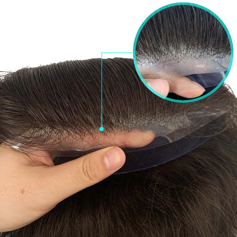 Thin Skin Base Men Toupee Invisible Natural Hairline V Loop Knot Human Remy Hair Free Shipping