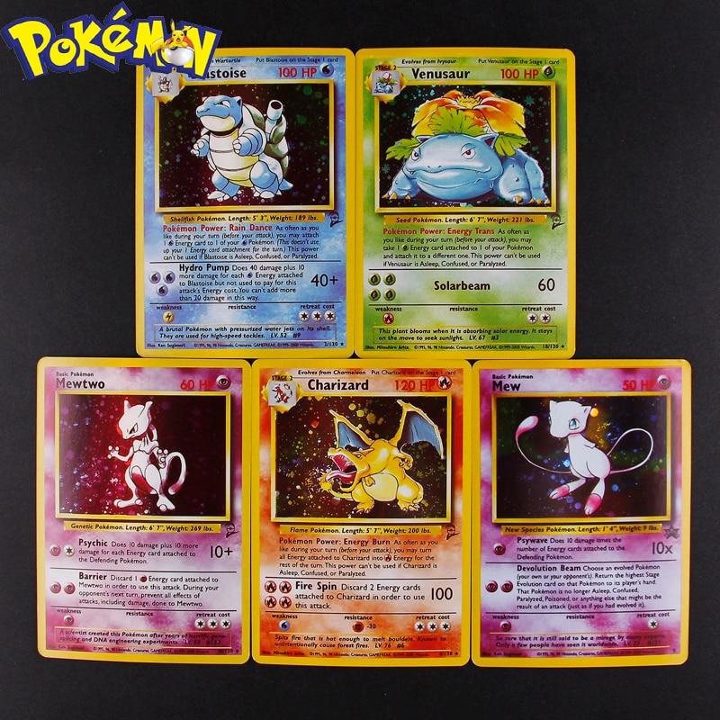 5pcs 1996 Pokemon Cards Kids Gift Charizard Blastoise Venusaur Mewtwo MEGA Flash Card Collection Battle Pokemons Toy