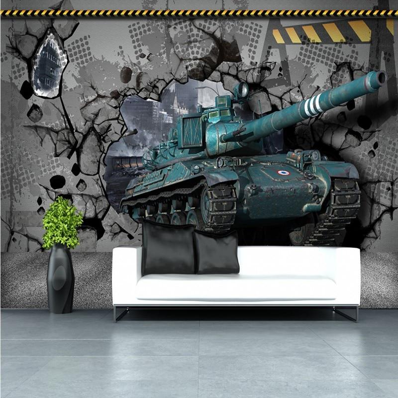 Drop Shipping Custom Photo Wallpaper Custom Tank Through Wall 3D Stereo HD Sofa Backdrop Meeting Room  Office Studio Wallpaper