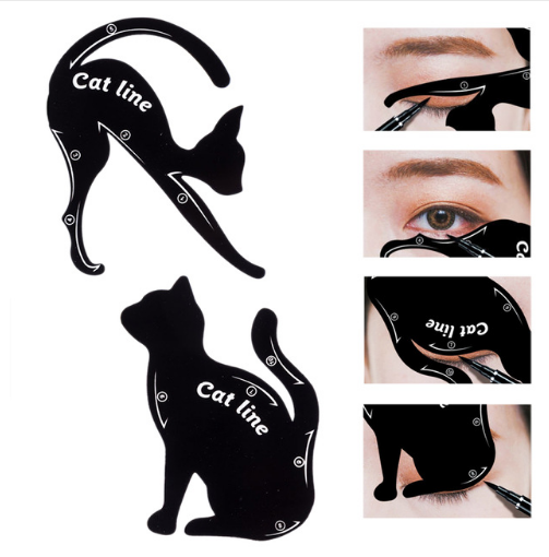 New Beauty Cat Line Eyebrow Stencil For Women Make Up Tools Easy Eye Brow Temple Catline Eyeliner Pattern Stencils For Eye Liner