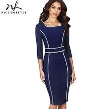 Хорошее-forever винтажное элегантное лоскутное офисное vestidos деловые вечерние облегающее женское платье-карандаш B551