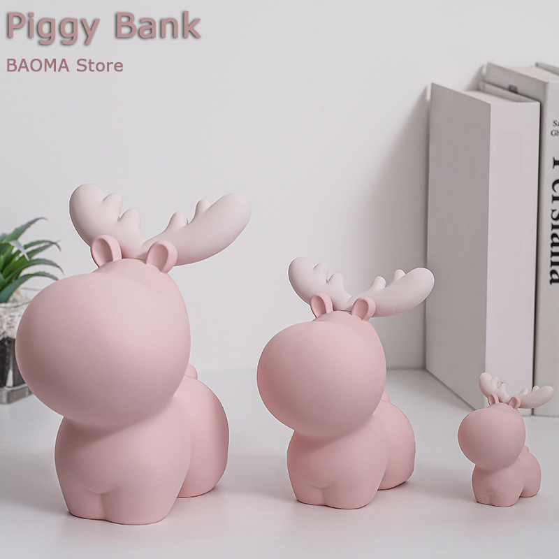 Reasin Piggy Bank Home Decoration Creative Coin Money Box Storage Tank Bedroom Deer Desktop Display As Children Christmas Gift