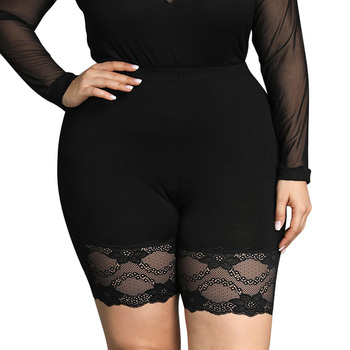 цена на 6XL Plus Size Legging Black Elastic Leggings For Women Summer Lace Patchwork Leggings Pants Workout Shorts Leggings Ladies D30
