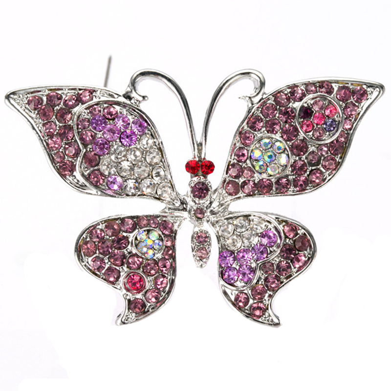 Bijoux en argent femmes mariage Plaqué strass cristal papillon Broche