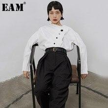 EAM-blusa blanca plisada con botones para primavera y otoño, camisa holgada de manga larga, nuevos asimétricos, 2021, 1B670