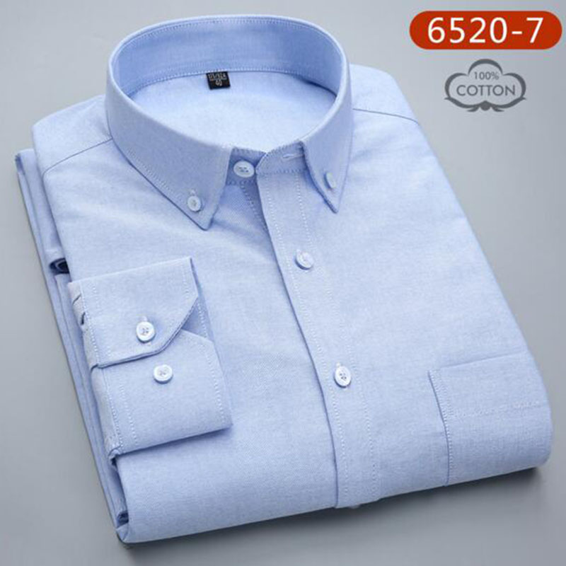 Hommes étudiants à manches longues mode bonbons couleur unie Oxford pur coton lavé Slim Fit chemises décontracté qualité grande taille - 2