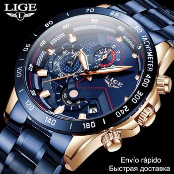 2020 Mens Watches Waterproof Stainless Steel LIGE Top Brand Luxury Fashion Sports Watch Chronograph Quartz Clock Black Men - discount item  90% OFF Men's Watches