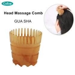 Cofoe cabeça de massagem pente raspagem guasha placa anti-perda de cabelo gua sha pente cabeça tratamento meridian 1 peça