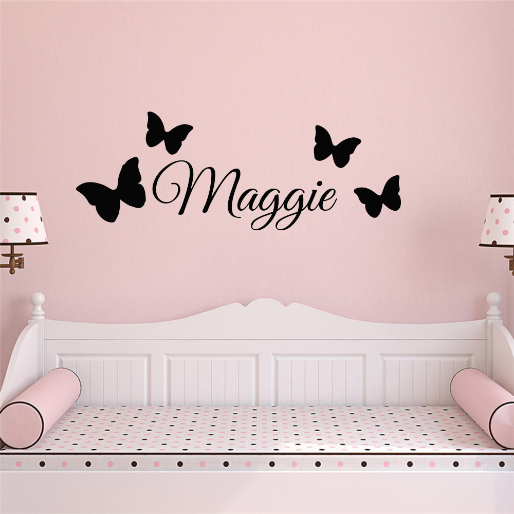 Personalized Butterfly Custom Name Vinyl Wall Sticker For Baby Room Wall Decal Girls Bedroom Decor Murals Wallpaper Nome Menina