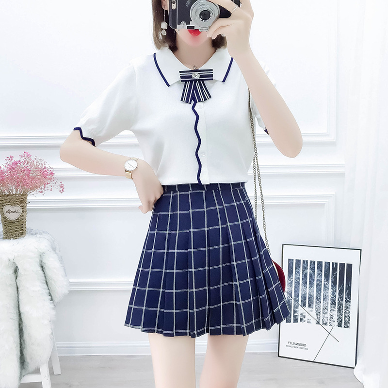 Photo Shoot Online Celebrity Hipster England College Style Set Fold-down Collar Bowtie Sweater High-waisted Slimming Pleated Ski