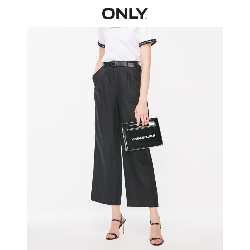 ONLY Women's Loose Fit Linen Wide-leg Casual Pants | 119214503