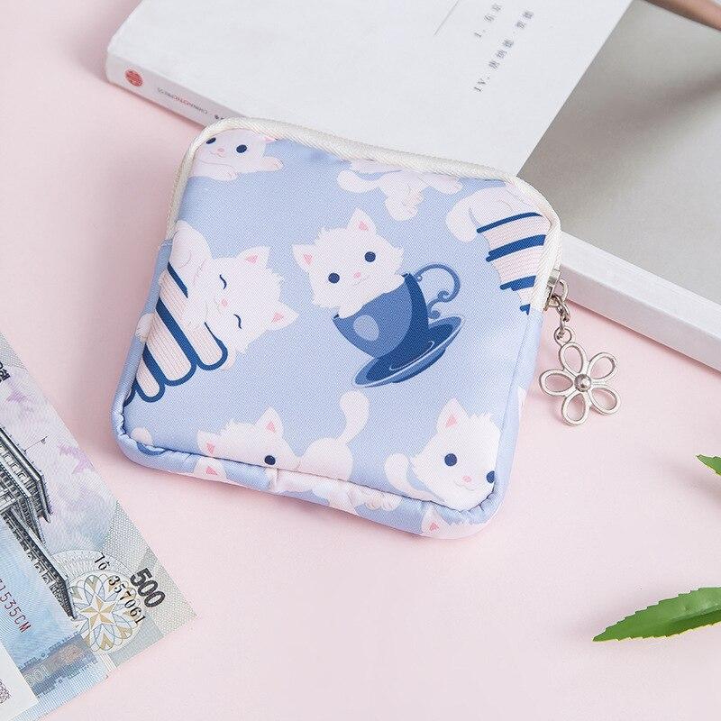 ETya мультяшная мини-сумка для монет для женщин и девочек с принтом кота, кошелек для монет, держатель для карт, кошелек, сумки для денег, наушники, посылка, подарки для детей - Цвет: 2