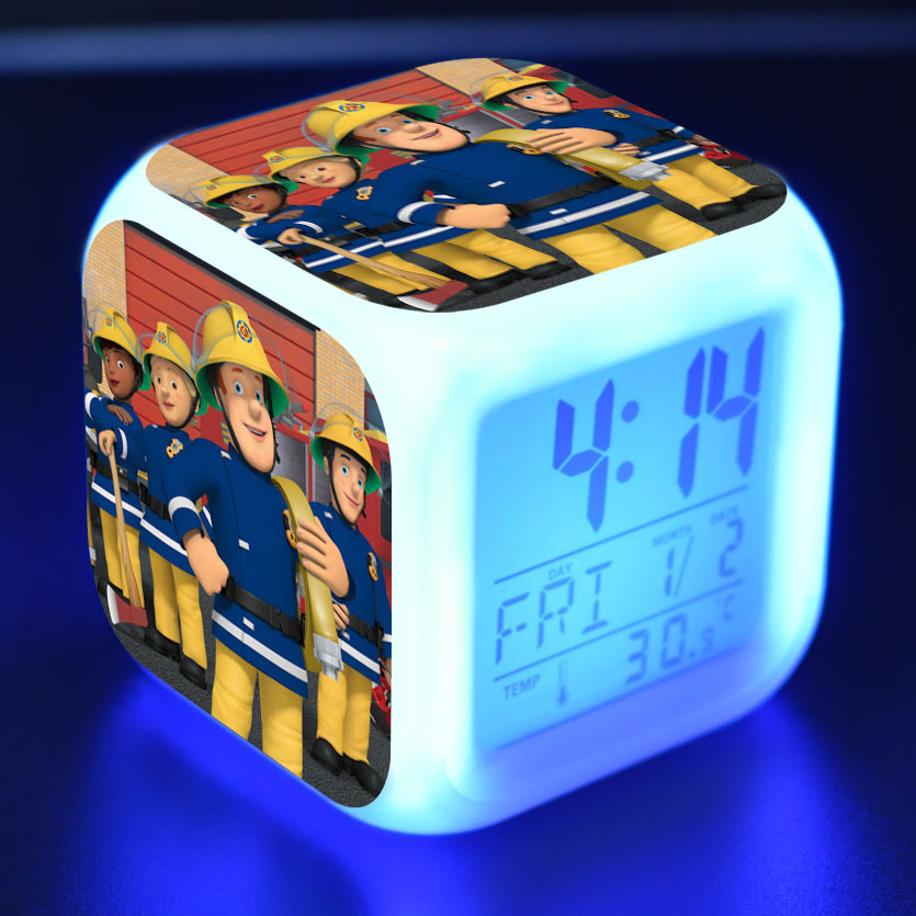 Fire Man Sam Anime Figurine Fireman Sam Juguetes LED Alarm Clock Colorful Touch Light Figure Toys For Kids Christmas Gift