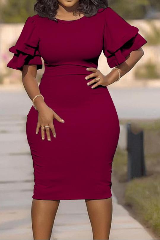 Large size XL-5XL Sudress 2019 Women's Dress O-Neck lanterm Sleeve Slim Night Solid Party short dress (5)