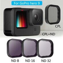 GoPro 9 Lens filtreler CPL ND8/16/32 Len koruyucu 9H sertlik filtre seti için GoPro Hero 9 siyah spor kamera aksesuarları