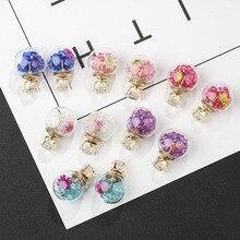 Crystal Earrings for Women Glass Bling Rhinestone Zircon Double-sided Stud Earings Fashion Jewelry Wholesale