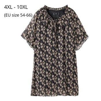 Plus Size 10XL 8XL 6XL 4XL Women Summer Short Sleeves Shirts Female Printed Chiffon O-neck Ruffle Trim Women Tunic Tops фото