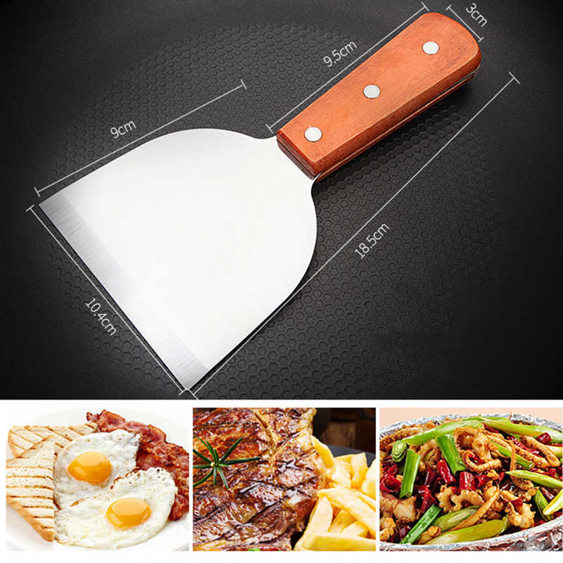 Stainless Steel Steak Sekop Griddle Turner Scraper BBQ Memasak Kue Alat
