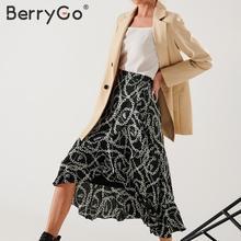 BerryGo Elegant chain print midi skirts womens Asymmetrical lace up long wrap skirt female 2020 Spring summer OL ladies skirts