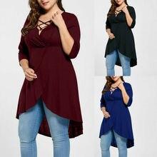 купить Fashion Women Plus Size Solid O-Neck Lace Up Three Quarter Sleeve Top Shirt 5XL дешево