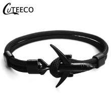 CUTEECO Anchor Bracelets Men Charm Chain 550 Paracord Bracelet 2019 New Fashion Plane  Jewelry Male Wrap Metal Sport Hook