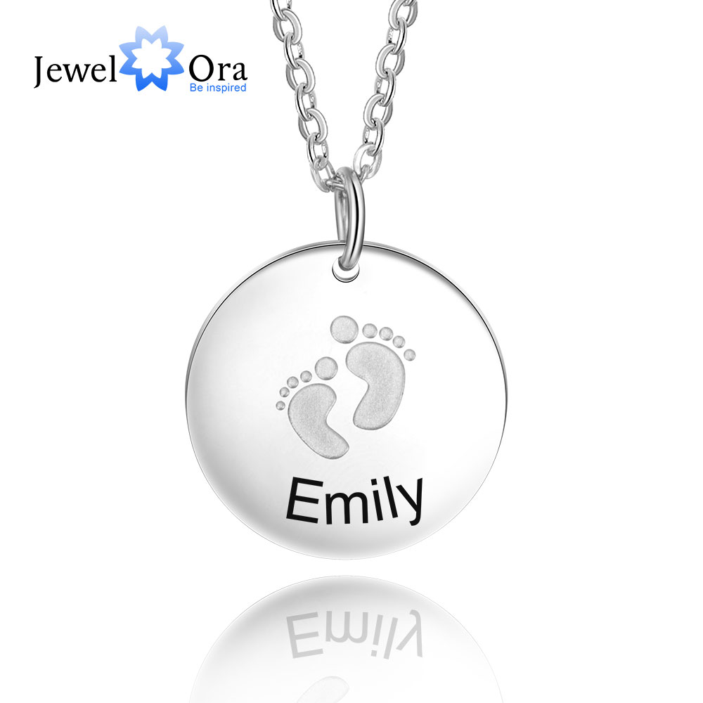 Creative Baby Footprint Custom Name Necklace Round Name Pendant Necklace Gift