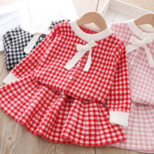 New 2020 Spring Toddlers Kids Clothing Sets Knitted Cardigan Sweater Pleated Skirt 2pcs Baby Girls Cute Outfits Children Suits 2pcs lot spring autumn baby little girls knitted ruffle skirt suits children kids girl jersey skirt sweater bow tie frillies