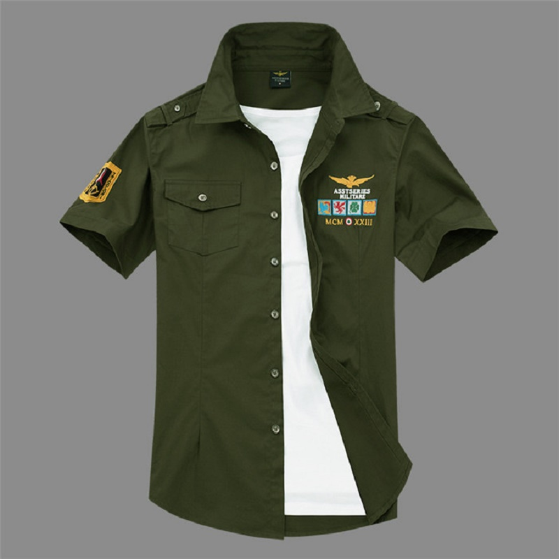New Short Sleeve Shirts Fashion Airforce Uniform Military Short Sleeve Shirts Men's Dress 4xL