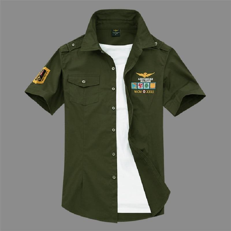 New Short Sleeve Shirts Fashion Airforce Uniform Military Short Sleeve Shirts Men's Dress 4xL