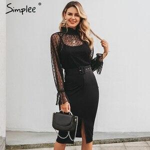 Image 2 - Simplee 섹시한 줄무늬 레이스 여성 드레스 블랙 폴카 도트 벨트 칼집 파티 드레스 퍼프 슬리브 가을 겨울 사무실 숙녀 드레스