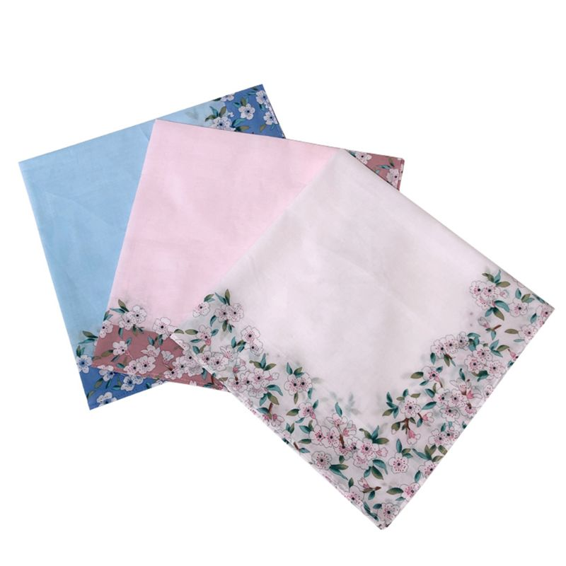 2020 Womens Cotton Square Handkerchiefs Cherry Blossom Floral Candy Color Hanky Towel