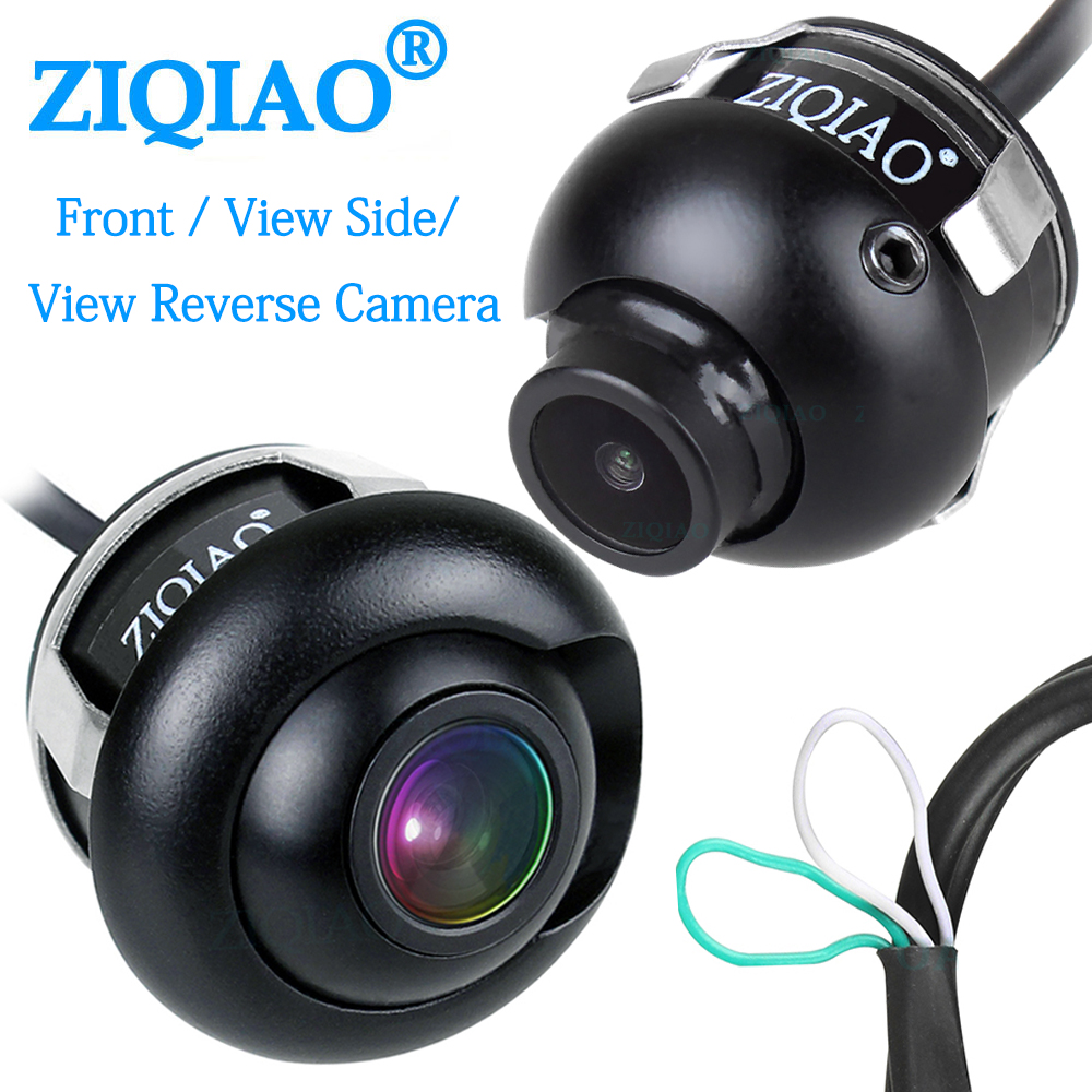 ZIQIAO Front View Side View Reverse Camera 360° Rotation HD Night Vision Waterproof Car CCD Rear View Parking Camera title=