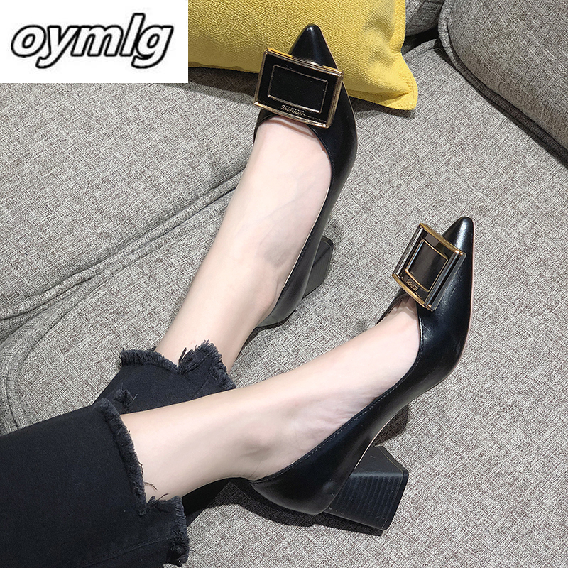 Square Heels Pointed Toe Pumps Shoes Women Leather Med Heels V Mouth Casual Office Lady OL Shoes 5 Cm Heel