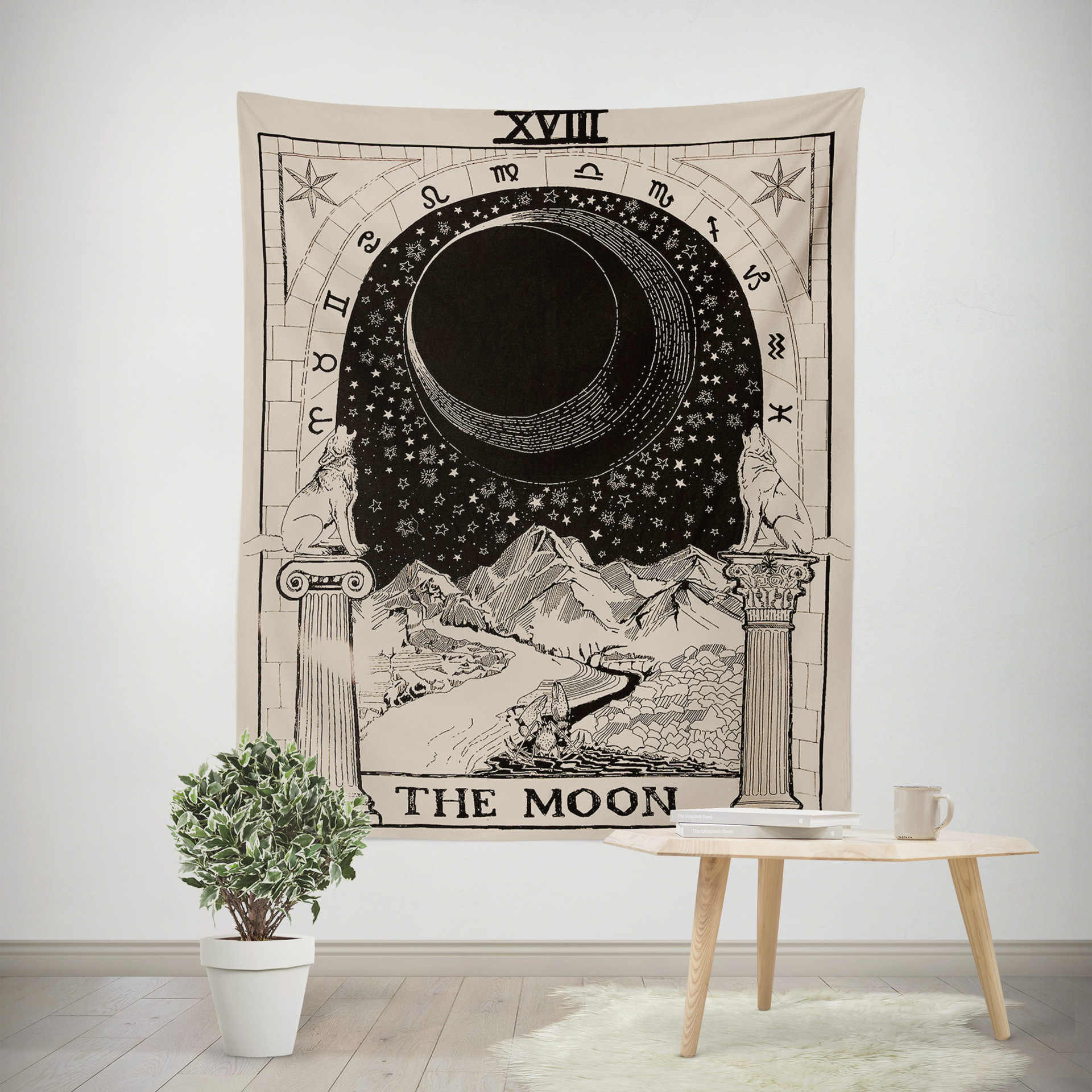 Wandteppich Modern Aesthetic Tapestry Psychedelic Modern Art Tarot Moon Tapestry Wall Hanging Headboard Large Wandteppich Room Decoration Eb50gt|tapestry| - Aliexpress